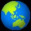 globe showing Asia-Australia